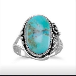 RING NEW ANTIQUE 925 SIVER LRG TURQUOISE